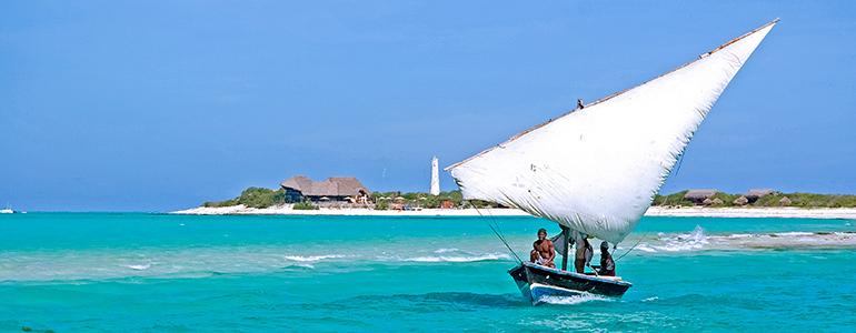Medjumbe dhow and island