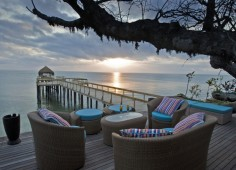 Dugong Beach Lodge Pool Deck At Sunset