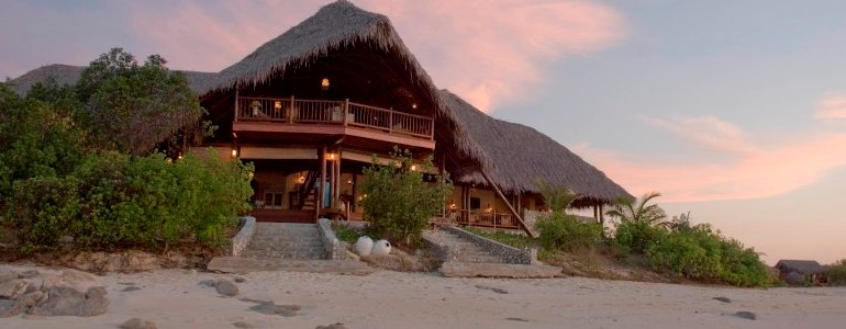 Medjumbe Main Building and Beach at Sunset